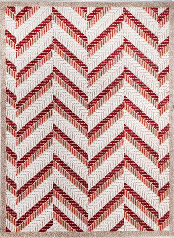 Cario Chevron Stripes Beige Orange Red