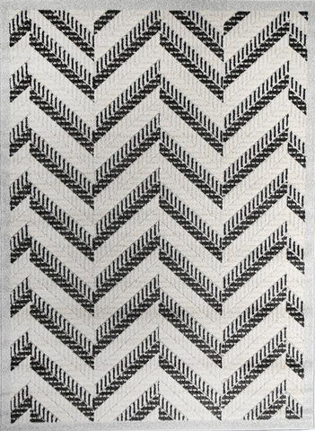 Cario Chevron Stripes Light Grey Black
