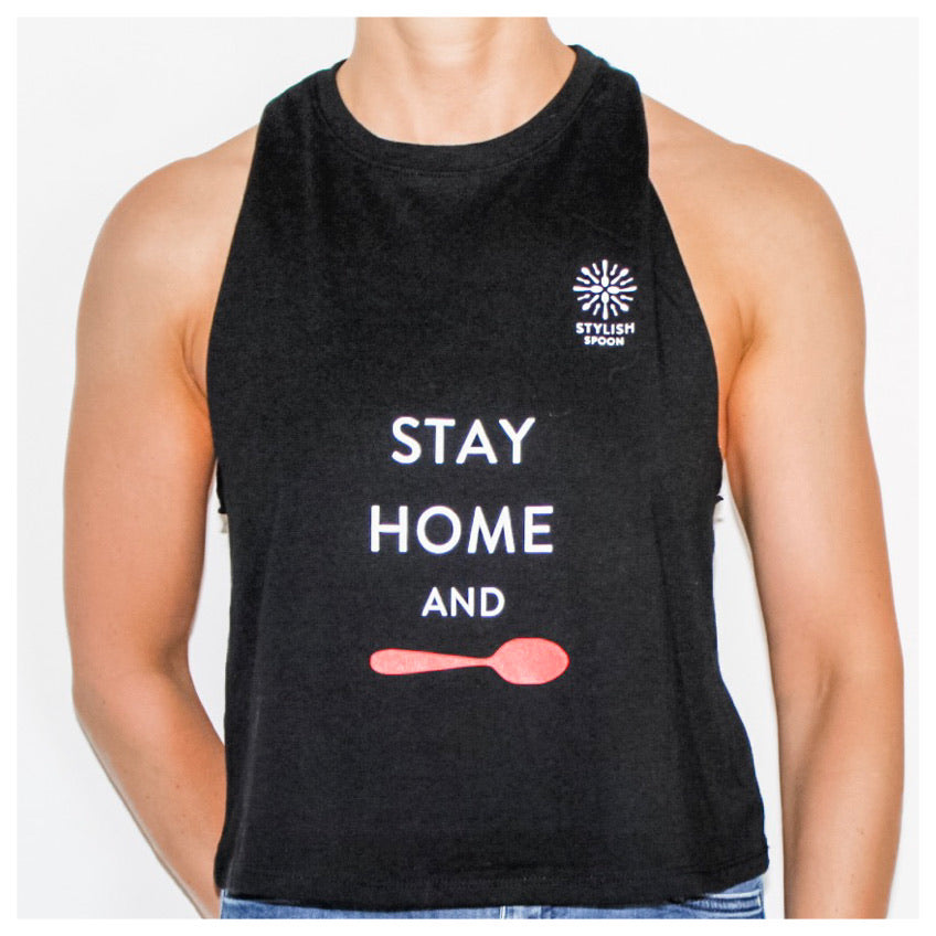 Stay Home and Spoon Cropped Tank