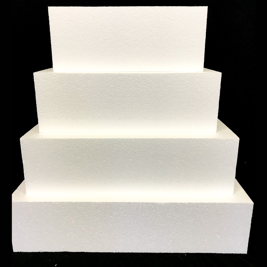 "Square Cake Dummy Set of 4 Dummies from 10"" to 16"" by Shape Innovation, Inc."