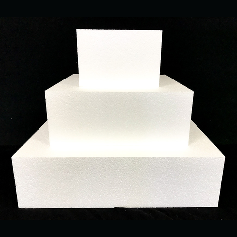 "Square Cake Dummy Set of 3 Dummies from 6"" to 14"" by Shape Innovation, Inc."
