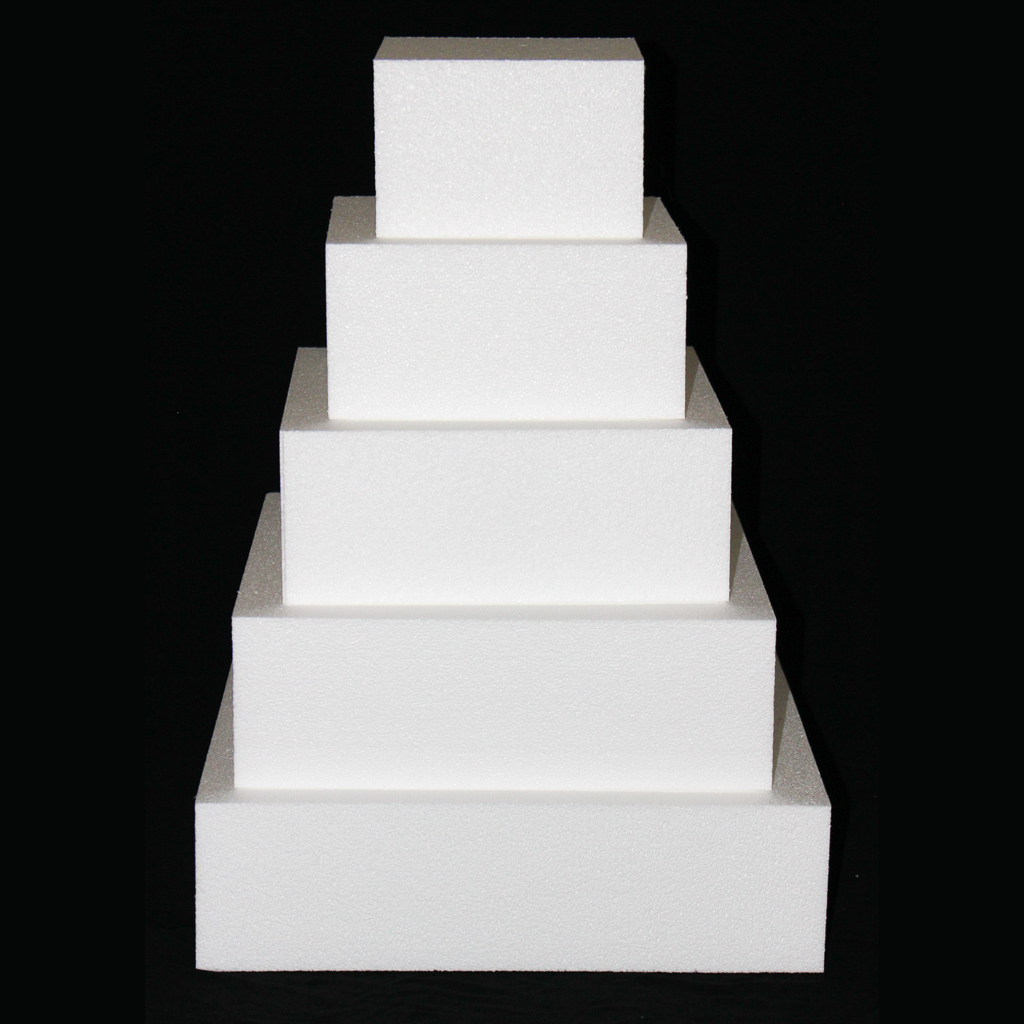 "Square Cake Dummy Set of 5 Dummies from 8"" to 16"" by Shape Innovation, Inc."