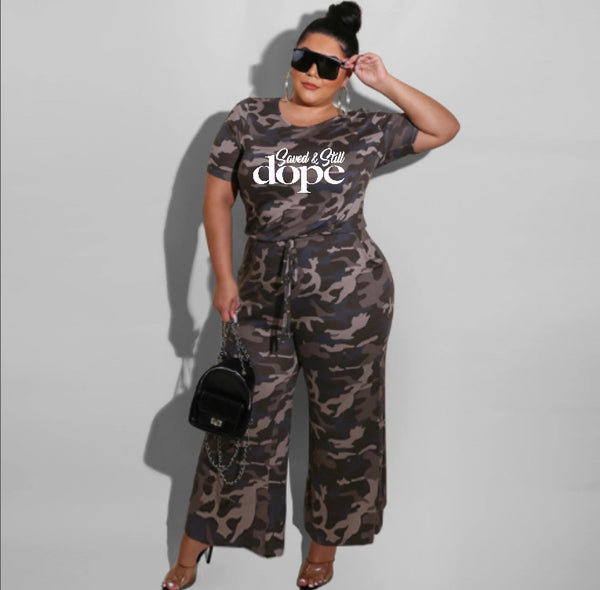 """Saved & Still Dope"" Plus Size Wide Leg Jumpsuit (Pre-Order)"