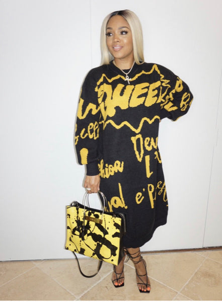 QUEEN letter print Sweater Dress (Pre-Order)