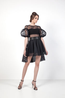 Black Honey Cocktail Dress with Puff Sleeves Front