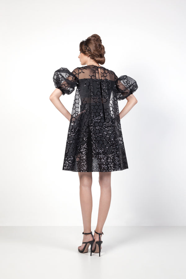 Black Honey Tulle Dress With Puff Sleeves Back