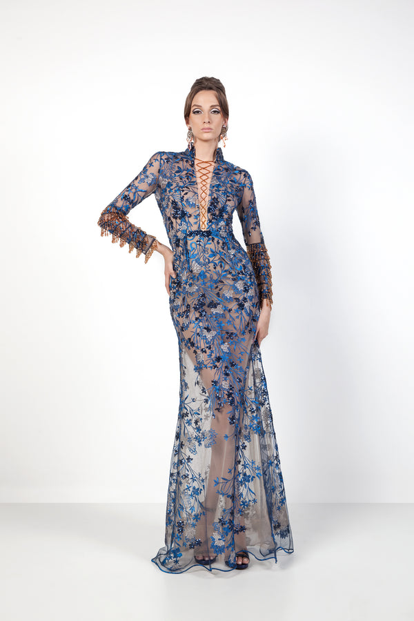 Blue Dragon Evening Gown Front Souraya