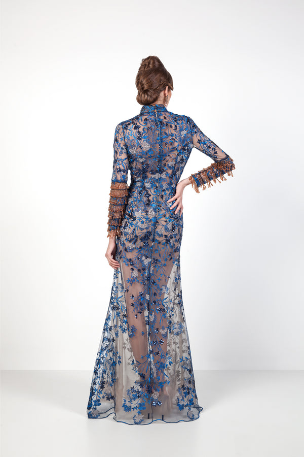 Blue Dragon Embroidered Evening Gown in Blue Back Souraya