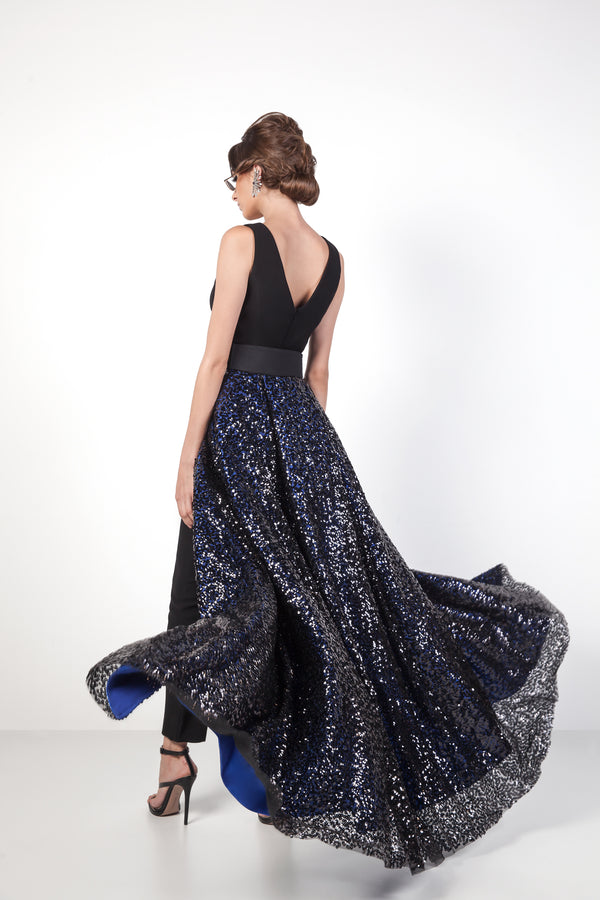 Evening Black and Blue Gown