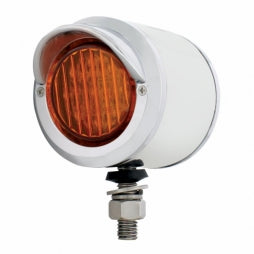 "Stainless 2"" Double Face LED Light with Visors- Amber & Red LED/ Amber & Red Lens"