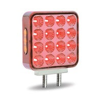 Double Face Double Post Square Fender Light. Clear Amber / Red