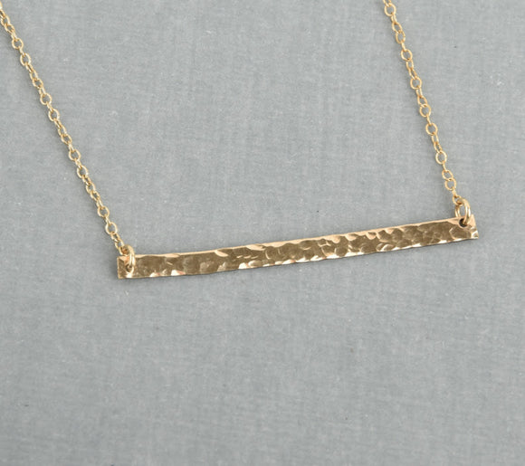 Long and skinny hammered bar necklace