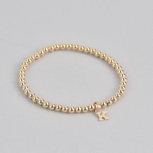 Kayla With Letter Gold Beaded Bracelet