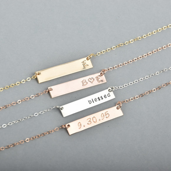 Personalized Hand-Stamped Bar Necklace
