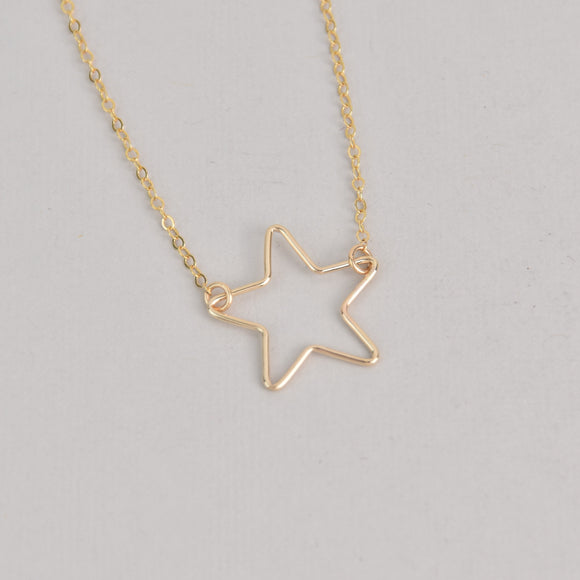 Gold Wire Star Necklace