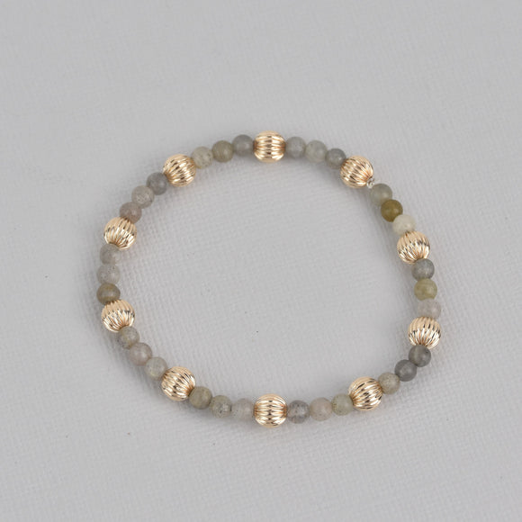 Kamryn Gold Beaded Gemstone Bracelet