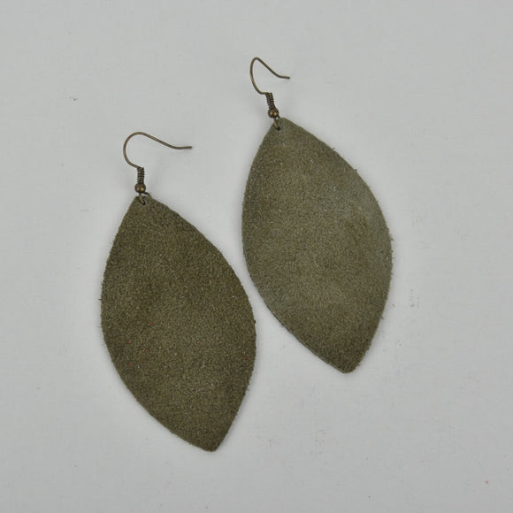 Army Green Marquise Suede Earrings