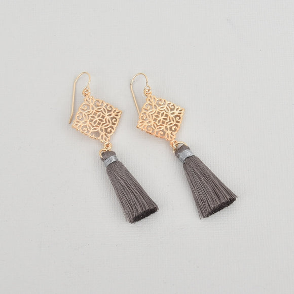 Gray Silk Tassel Filigree Earrings