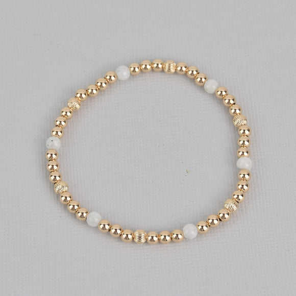 Kylie Gold Beaded Gemstone Bracelet