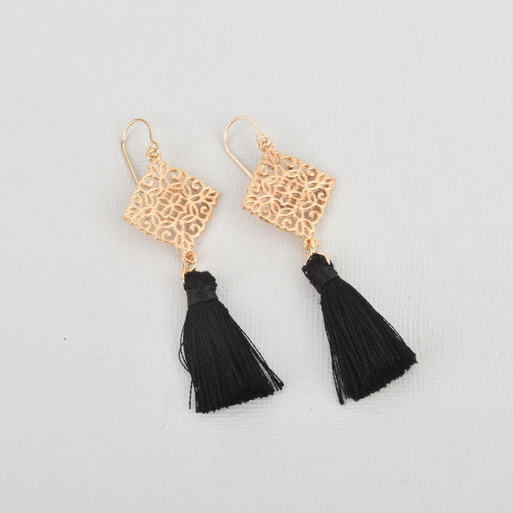 Black Silk Tassel Filigree Earrings