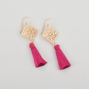 Hot Pink Silk Tassel Filigree Earrings