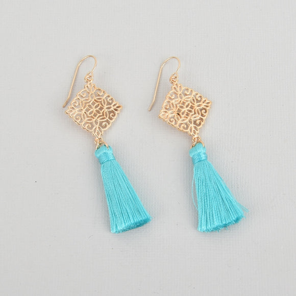 Turquoise Silk Tassel Filigree Earrings