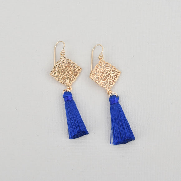Blue Silk Tassel Filigree Earrings