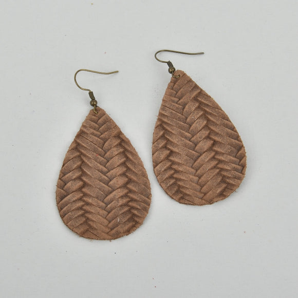Mocha Weave Leather Teardrop Earrings