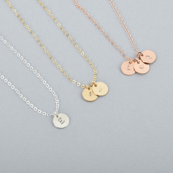 Tiny Discs Personalized Hand-Stamped Necklace