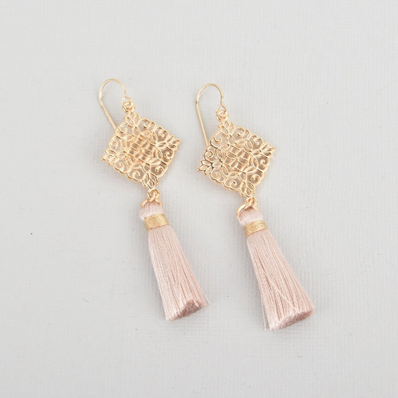 Blush Silk Tassel Filigree Earrings