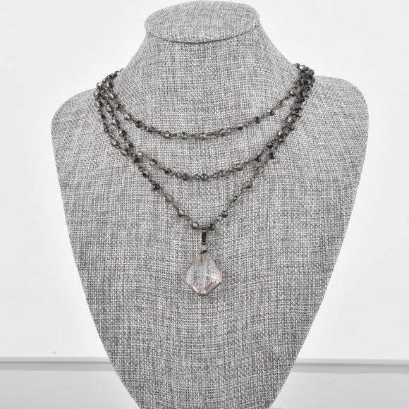 Triple Strand Grey Smoke Crystal Necklace