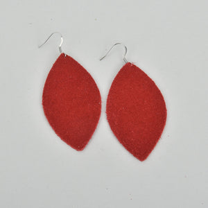 True Red Marquise Suede Earrings