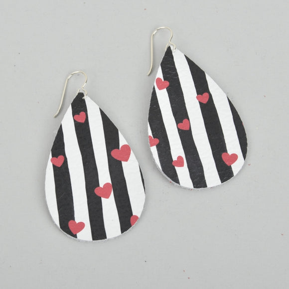 Valentine's Stripes Leather Teardrop Earrings