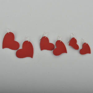 Red Hearts Leather Earrings