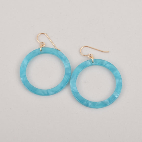 Turquoise Hoops Terrazzo Earrings