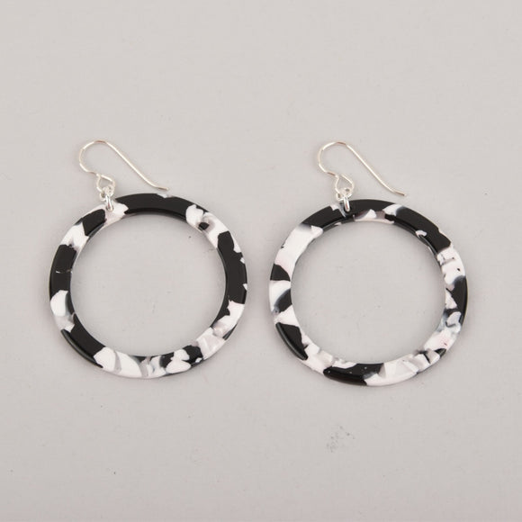 Tuxedo Hoops Terrazzo Earrings