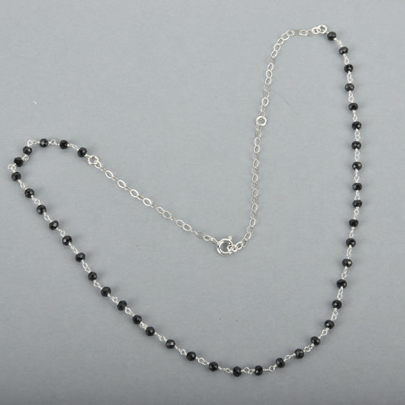 Black Spinel Rosary Chain Necklace