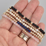 Kathryn Five Stack Gold Beaded Gemstone Bracelet