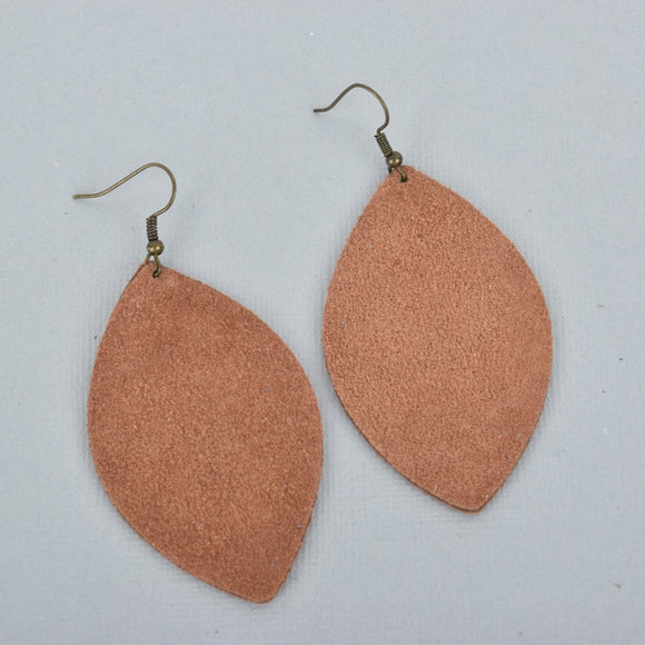 Caramel Marquise Suede Earrings