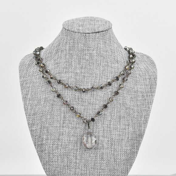 Double Wrap Grey Smoke Crystal Necklace