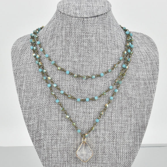 Triple Strand Blue Crystal Necklace