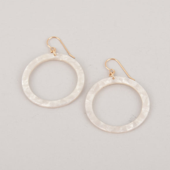 White Hoops Terrazzo Earrings