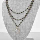 Triple Strand Black Crystal Necklace