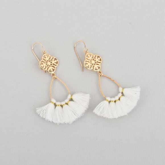 White Fan Tassel Earrings