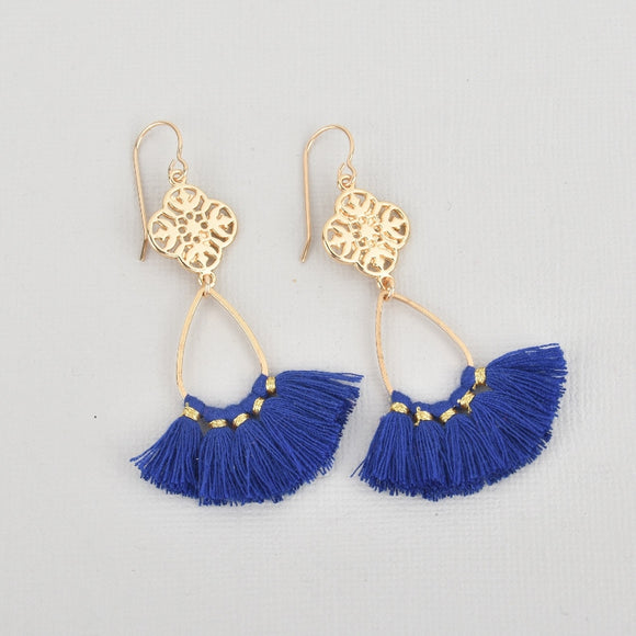 Royal Blue Fan Tassel Earrings