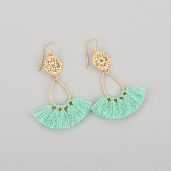Mint Green Fan Tassel Earrings