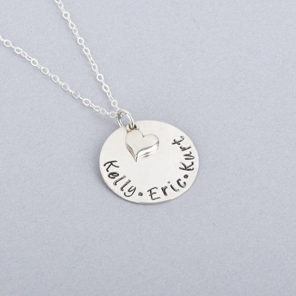 Sterling Silver hand-stamped mother's necklace