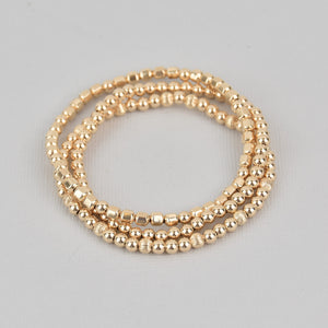 Khloe Three Stack Gold Beaded Bracelet