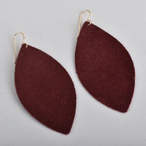 Burgundy Marquise Suede Earrings
