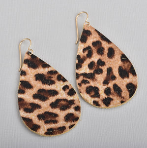 Leopard Animal Print Leather Teardrop Earrings